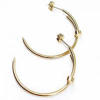 Серьги-кольца Гвоздь из медицинской стали женские 35 мм 176121, фото 1