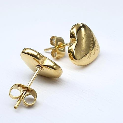 Романтичные стальные сережки Золотое сердце Тиффани из стали 176122