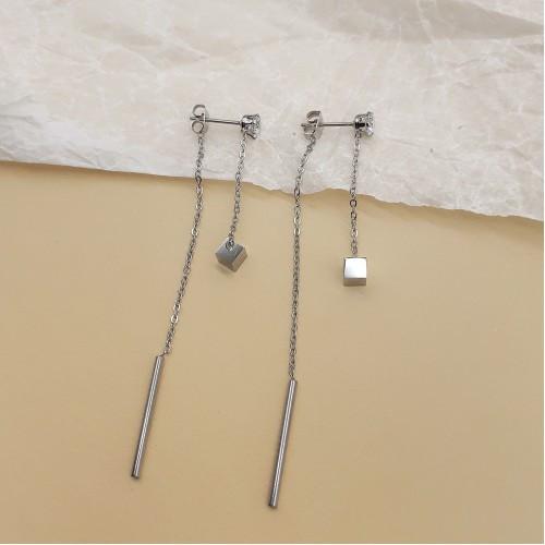 Сережки висюльки женские стальные на цепочке 65 мм 176123