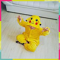 Детская Пижама Кигуруми покемон Пикачу желтый, теплая пижама (на рост 90-105 см)
