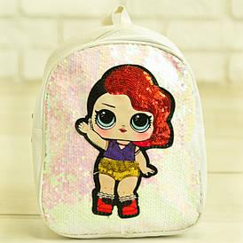 Детский рюкзачок ЛОЛ с пайетками - №19-41-2 белый