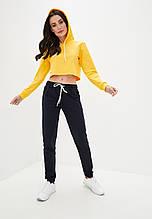 Кроп топ женский спортивный с капюшоном жёлтый