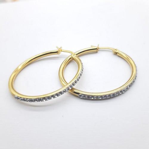 Сережки кільця із сталі з фіанітами жіночі 3-5,5 см 176124