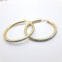 Сережки кільця із сталі з фіанітами жіночі 3-5,5 см 176124, фото 1