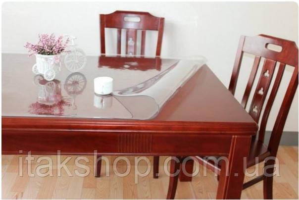 Силиконовое мягкое стекло Прозрачная защитная скатерть для стола и мебели Soft Glass (3.0х1.0м) толщина 1.5мм