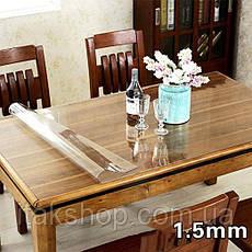 Силиконовое мягкое стекло Прозрачная защитная скатерть для стола и мебели Soft Glass (3.0х1.0м) толщина 1.5мм, фото 2