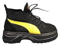 """Женские Ботинки Puma Spring Boots """"Black Yellow"""" - """"Черные Желтые"""", фото 1"""