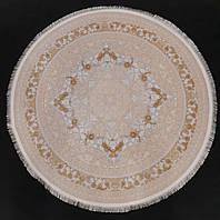 Килим круглий 1,5 на 1,5 метра кремового кольору з рельєфними візерунками виробництва Ірану