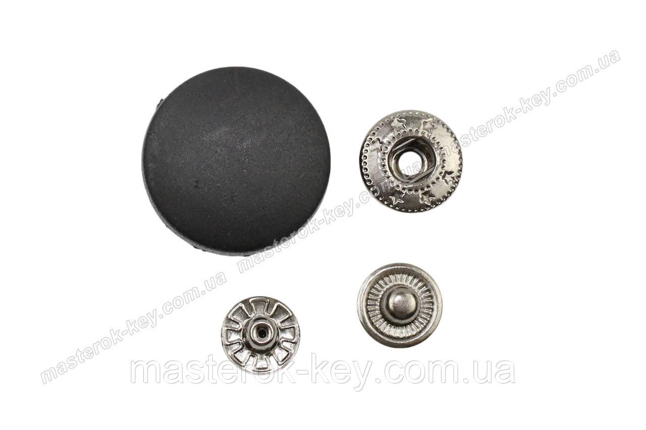 Кнопка пластиковая 25мм. Турция цвет черный (1000 шт в упаковке)