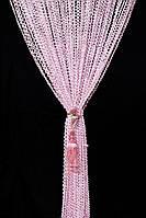 Штори-нитки серпанок спіраль рожеві Розмір: 3 х 3 м, фото 1