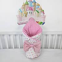 Одеяльце - конверт на выписку с бантиком на резиночке - Зимнее-теплое - 100*80см - в бело-розовых тонах