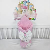Одеяльце - конверт на выписку с бантиком на резиночке - Зимнее-теплое - 100*80см - в розово-белом цвете