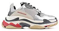 """Жіночі Кросівки Balenciaga Triple S """"Silver"""" - """"Сірі Білі Червоні"""", фото 1"""