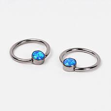 Кольцо титановое с голубым опалом   PKTO-05 серебристый