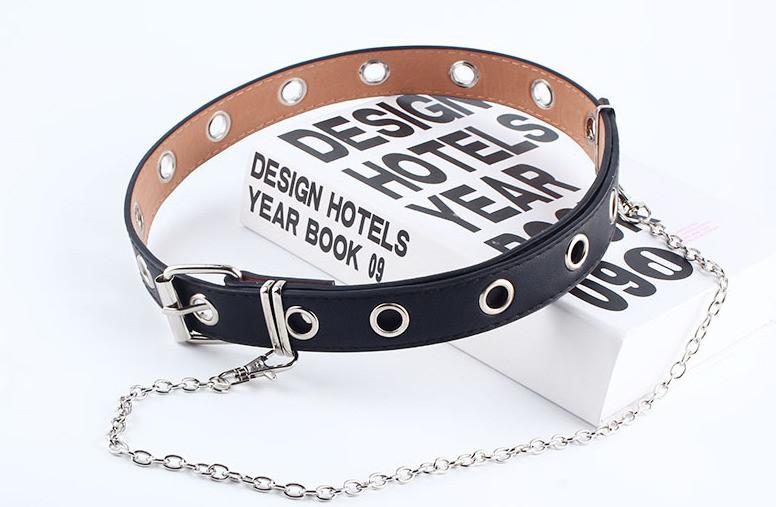 Ремень Пояс City-A Belt 100 см PU Кожа с Цепочкой Однорядный Черный