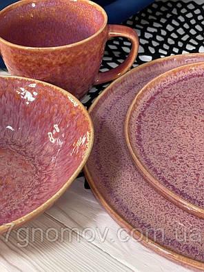 Набор 6 керамических розовых тарелок Морганит 21 см, фото 2