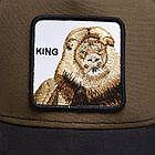 Кепка Бейсболка Тракер с сеткой Goorin Brothers Animal Farm King со Львом Коричневый, фото 4
