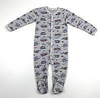 Человечек спальник для мальчика р.86 (12-18 мес) серый с самолетами