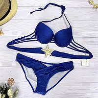 Красивый женский купальник раздельный синий