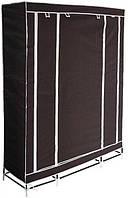 Портативный тканевый складной шкаф-органайзер для одежды 3 секции металлические перекладины Корич, КОД: 1331146