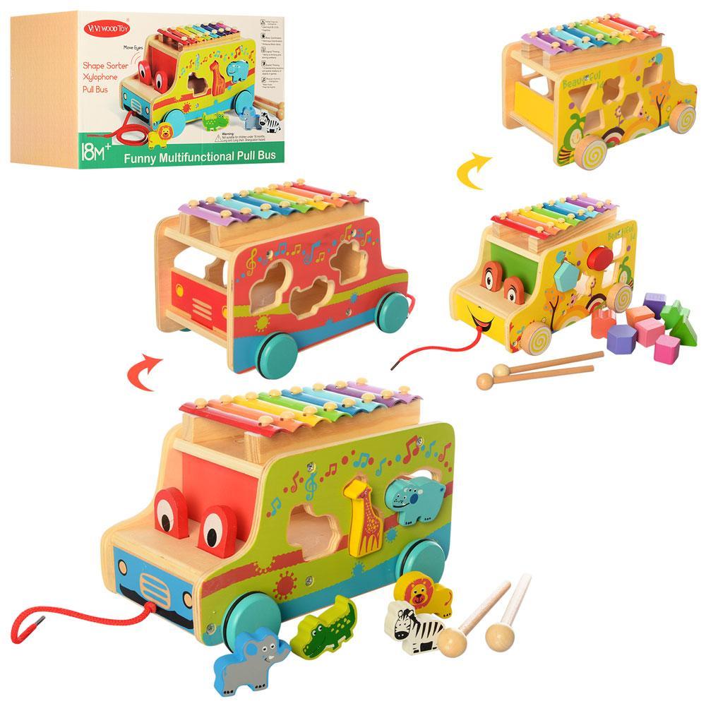 Деревянная игрушка Центр развивающий MD 2375 (12шт) машинка,сортер,ксилоф, 2в,кор,28,5-18,5-18,5см