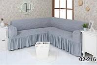 Чехол на угловой диван  с оборкой, натяжной, жатка-креш, универсальный, Concordia Серый
