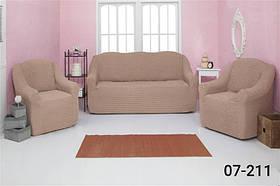 Чехол на диван и два кресла без оборки, натяжной, жатка-креш, универсальный Concordia Темный Беж