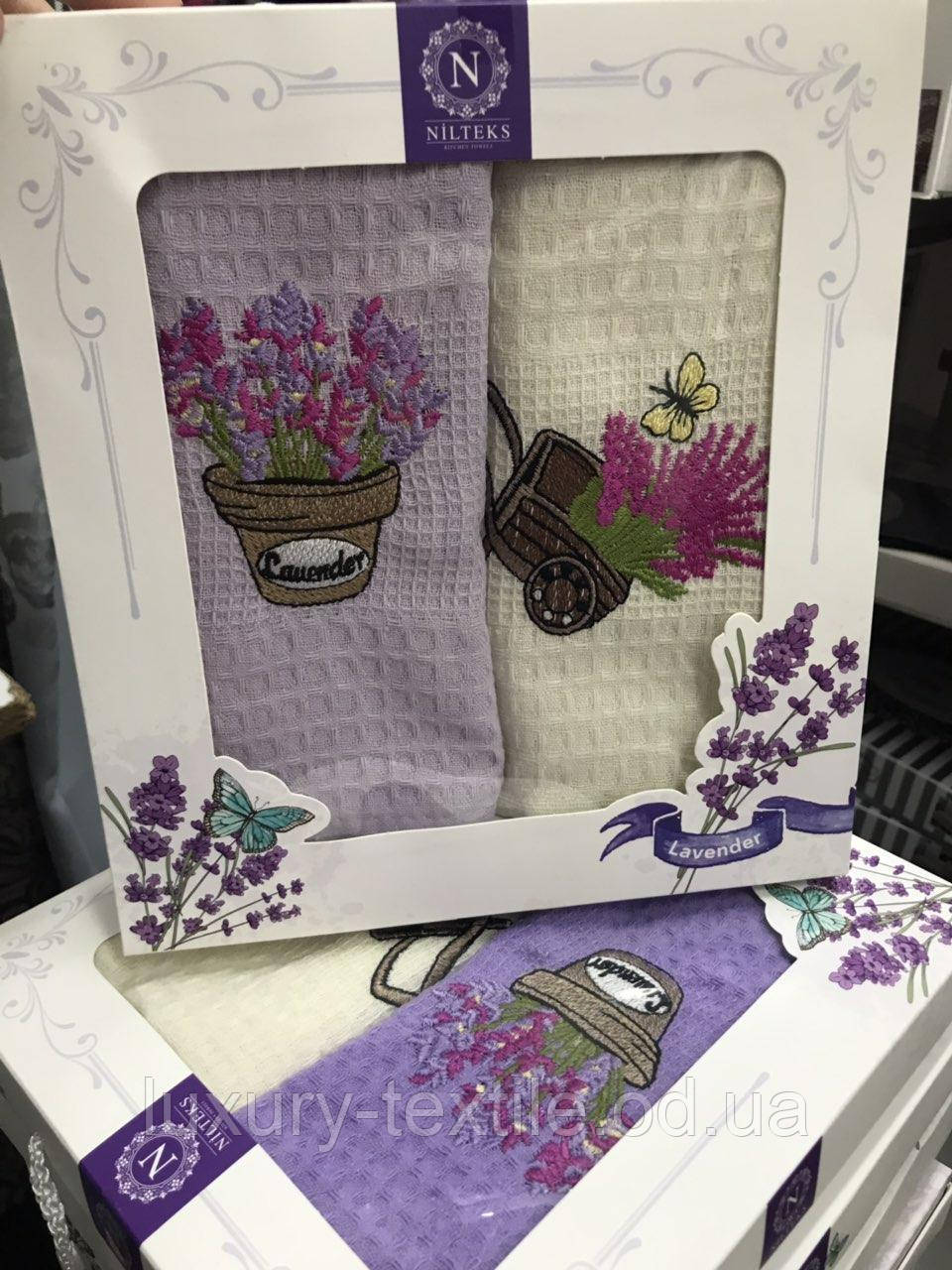 Набор кухонных полотенец Nilteks вафельные в подарочной коробке 40*60 2 шт с вышивкой Лаванда.