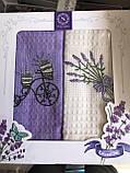 Набор кухонных полотенец Nilteks вафельные в подарочной коробке 40*60 2 шт с вышивкой Лаванда., фото 3