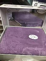 Махровая Простынь Покрывало 200*220 см Жаккардовая  Евро Размер Фиолетовая Турция Gulcan