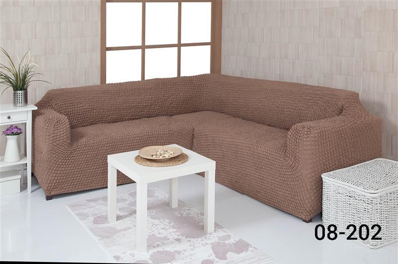 Чехол на угловой диван без оборки, натяжной, жатка-креш, универсальный, Concordia Капучино