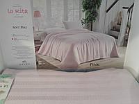 Вафельная Летняя Простынь Покрывало На Кровать Однотонное Евро Размер La Rita Розовая