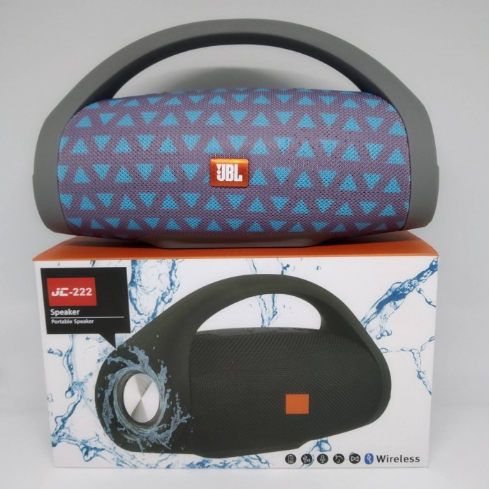 Портативная bluetooth колонка влагостойкая JBL Boombox B9 mini FM, MP3, радио Серая с треугольниками