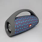 Портативная bluetooth колонка влагостойкая JBL Boombox B9 mini FM, MP3, радио Серая с треугольниками, фото 3