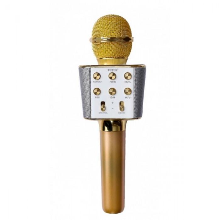 Беспроводной микрофон караоке блютуз WS-1688 Bluetooth динамик USB Золотой