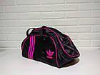 Спортивная сумка адидас, adidas для фитнеса с плечевым ремнем. Черная с розовым, фото 5
