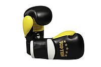 """Боксерские перчатки для спарринга TopTen """"DESIGN 2014"""" черно-желтые 12 oz"""