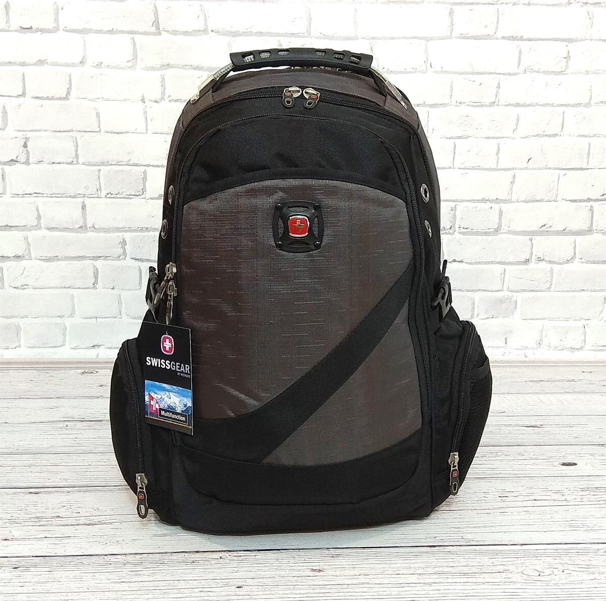 Вместительный рюкзак с жесткой спинкой. Черный с серым. + Дождевик. 35L / s7650 grey