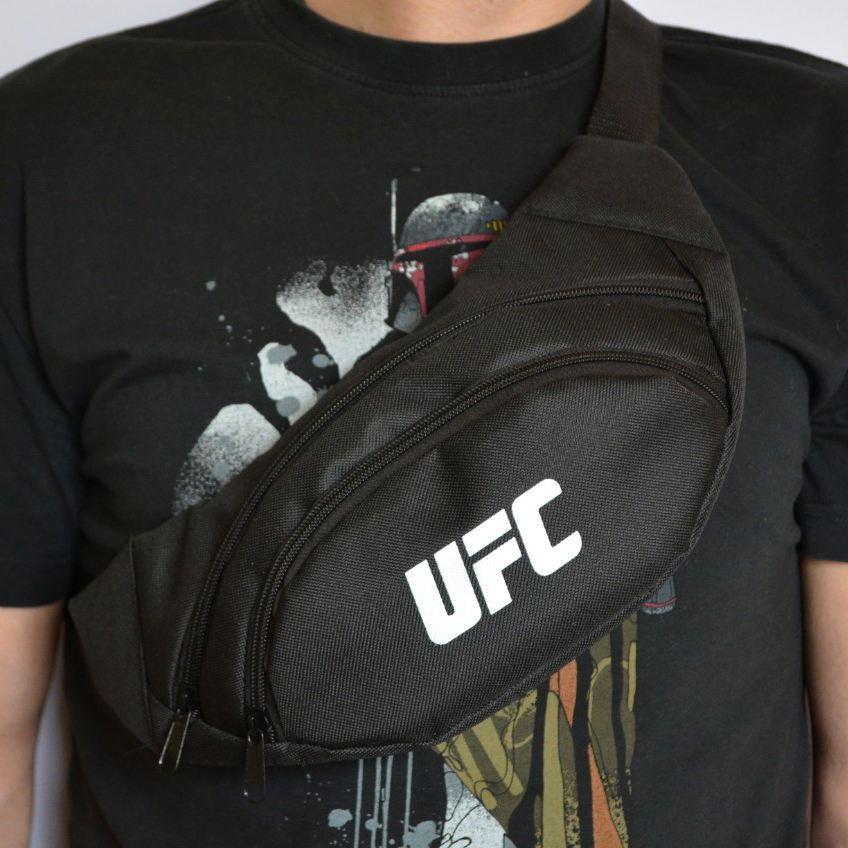 Поясная сумка, Бананка, барсетка юфс, UFC. Черная