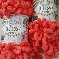 Турецкая фантазийная пряжа Puffy Alize кораллового цвета 619