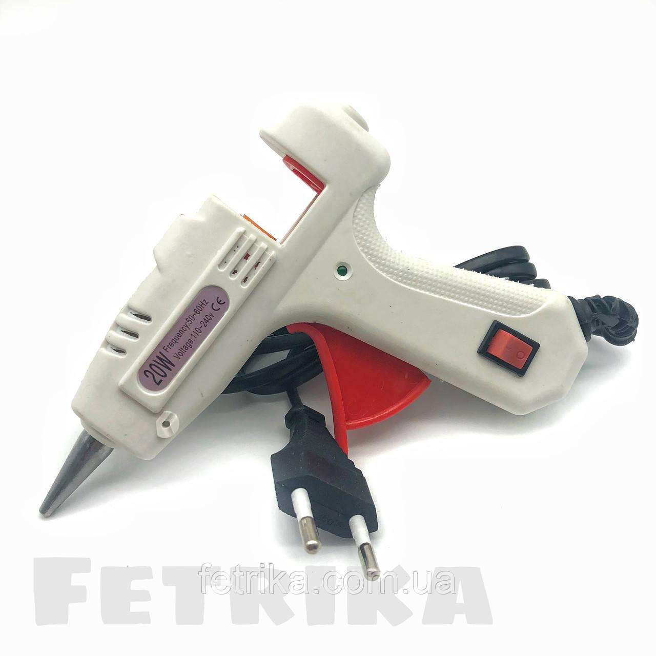 Пистолет клеевой электрический белый HELI с кнопкой (для клеевых стержней D7 мм)