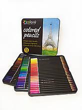 Кольорові олівці для малювання в залізній коробці 72 шт 72