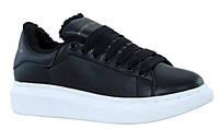 """Зимние Женские Кроссовки Alexander Mcqueen """"Black White Leather"""" - """"Черные Белые Кожанные"""" (Мех)"""