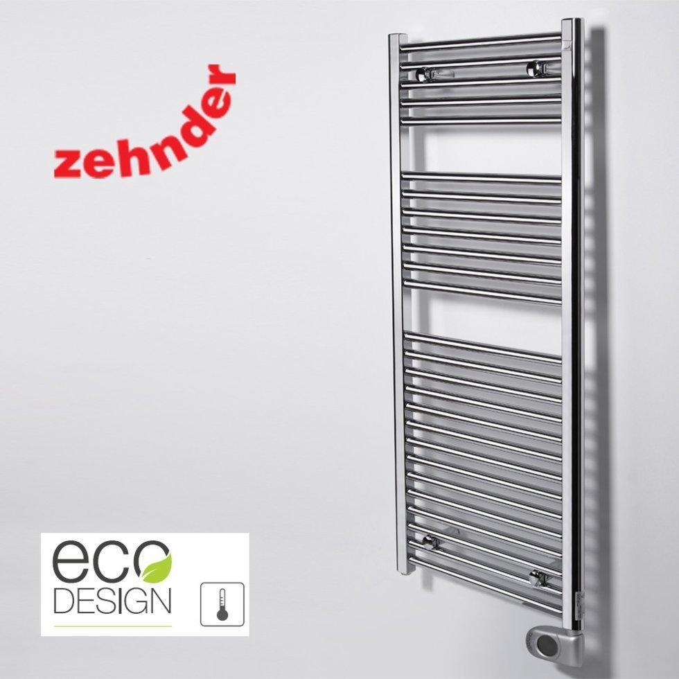 Полотенцесушитель електричний Zehnder Aura 500 x 1226, хром з програмованим теном