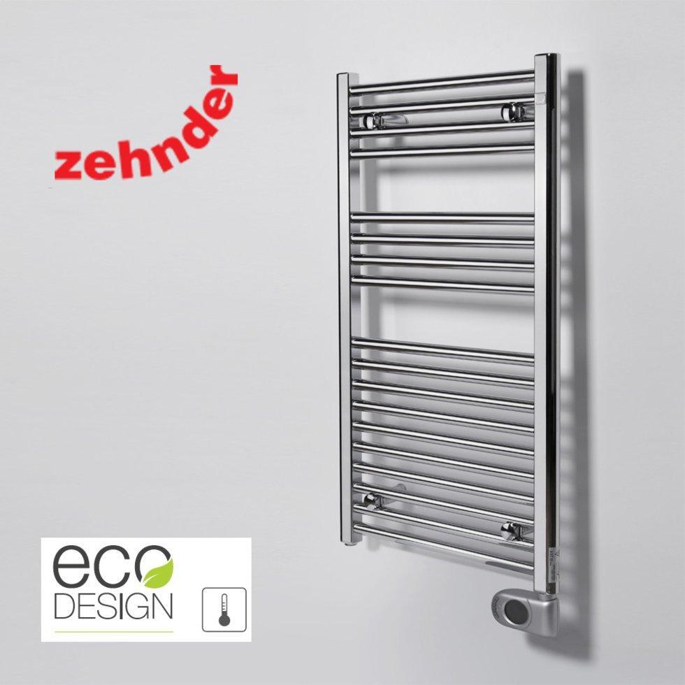 Полотенцесушитель електричний Zehnder Aura 500 x 906, хром з програмованим теном