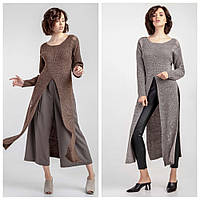 Модное теплое платье туника женское «Прейри» (Серое, коричневое | 42/44, 44/46, 46/48)