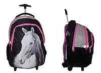 Рюкзак школьный на колесах PASO с конем