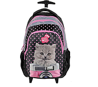 Рюкзак школьный на колесах PASO с котенком