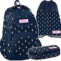 Школьный рюкзак  PASO комплект 3 шт. кактус