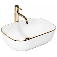 Умывальник раковина накладной для ванной REA BELINDA GOLD EDGE REA-U8736 (умивальник на столешницю для ванної), фото 1